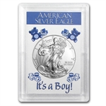 2014 1 oz Silver Eagle in It's a Boy! Design Harris Holder
