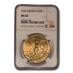 Mexico 1925 50 Peso Gold Coin NGC MS64