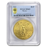 Mexico 1923 50 Pesos Gold Coin MS-63 PCGS (Secure Plus!)