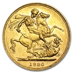Great Britain 1880 Gold Sovereign Victoria AU