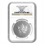 2012 1 oz Silver Canadian Maple Leaf Dragon Privy - SP-69 NGC