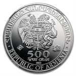 2012 1 oz Silver Armenia 500 Drams Noah's Ark Coin MS-70 NGC
