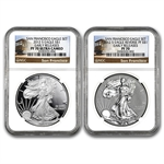 2012-S (2 Coin) Silver Eagle Set PF-70 NGC 75th Anniv (ER)