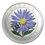 2012 Canadian $0.25 Coloured Aster & Bumblebee