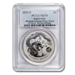 2012 1 oz Silver Year of the Dragon Coin (Lion Privy) PCGS MS-70