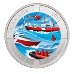 2012 Canadian $0.25 Coloured Coin 50th Anniv Canadian Coast Guard