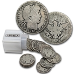 $10 1910-P Barber Halves - 90% Silver 20-Coin Roll (Avg Circ)