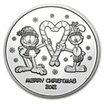 2012 1 oz Garfield & Odie Silver Round (w/Stocking & Capsule)