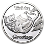 2012 1 oz Kitten Holiday Silver Round (w/Stocking & Capsule)