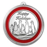 2012 1 oz Penguin Holiday Silver Round (w/Stocking & Capsule)