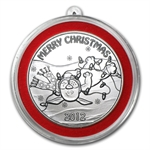 2012 1 oz Puppy Christmas Silver Round (w/Stocking & Capsule)