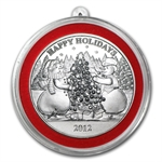 2012 1 oz Snowman Holiday Silver Round (w/Stocking & Capsule)