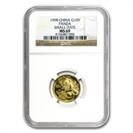 1998 (1/10 oz) Gold Chinese Pandas - Small Date NGC MS-69
