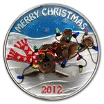 2012 1 oz Puppy Christmas Enameled Silver Round (w/Stocking)