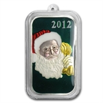 2012 1 oz Santa Enameled Silver Bar (w/Stocking & Capsule)