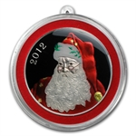 2012 1 oz Santa Enameled Silver Round (w/Stocking & Capsule)