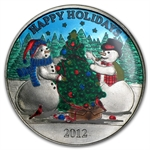 2012 1 oz Snowman Holiday Enameled Silver Round (w/Stocking)