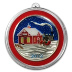 2012 1 oz Train Station Enameled Silver Round (w/Stocking)