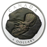 2008 1/2oz Silver Canadian $4 Triceratops Fossil Proof (W/Box)
