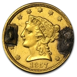 $2.50 Liberty Gold Quarter Eagle - 1857 Love Token - Florence