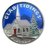 2012 1 oz Glad Tidings Enameled Silver Round (w/Stocking & Cap)