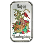 1 oz Happy Thanksgiving Enameled Silver Bar (w/Gift Box & Cap)