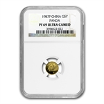 1987 (1/20 oz Proof) Gold Chinese Pandas PF-69 UCAM NGC