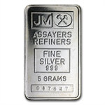 5 gram Johnson Matthey Silver Bar (Plain Back) .999 Fine