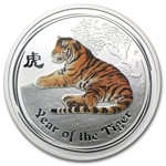 2010 1/2 oz Australian Silver Year of the Tiger Colorized Coin