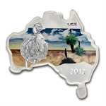 2012 1 oz Silver Australian Map Shaped Emu