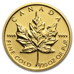 2013 1/20 oz Gold Canadian Maple Leaf