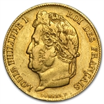 France Gold 20 Francs Louis Philippe EF or Better