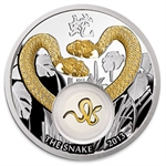 Niue 2013 Proof Gilded Silver $1 - Golden Snakes