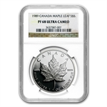 1989 1 oz Proof Silver Canadian Maple Leaf PF-68 NGC UCAM