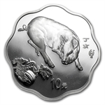 2007 Year of the Pig - 1 oz Silver - Flower Coins NGC PF-69
