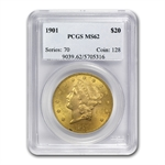 1901 $20 Gold Liberty Double Eagle - MS-62 PCGS