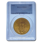 1912 $20 St. Gaudens Gold Double Eagle - MS-64 PCGS
