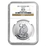 2011 1 oz Silver Canadian Wildlife Series - Wolf MS-69 NGC