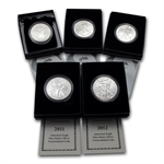 Burnished Silver American Eagle 5-Coin Set (w/Box & CoA)
