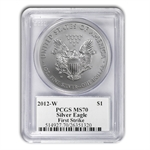 2012-W (Burnished) Silver Eagle MS-70 PCGS (FS) John Mercanti