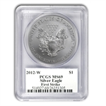 2012-W (Burnished) Silver Eagle MS-69 PCGS (FS) John Mercanti