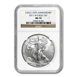 2011-W (Burnished) Silver Eagle MS-70 NGC 25th Anniversary