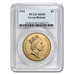 Great Britain 1992 5 Pounds Gold MS-69 PCGS