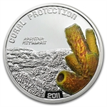 Tuvalu 2011 Proof Silver $1 Coral Protection - Yellow Tube Sponge