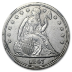 1847 Liberty Seated Dollar AU Details - Improperly Cleaned NGC