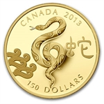 2013 Gold Canadian $150 Lunar Year of the Snake (W/Box & COA)