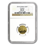 2010 (1/10 oz) Gold Chinese Pandas - MS-69 NGC