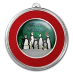 2012 1/2 oz Penguin Holiday Enameled Silver Round (w/Stocking)