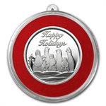 2012 1/2 oz Penguin Holiday Silver Round (w/Stocking & Capsule)