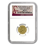 2013 1/10 oz Gold Lunar Year of the Snake (SII) NGC MS-70 (ER)
